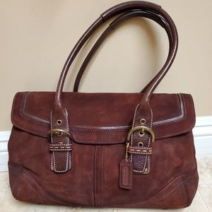 Coach handbag along with suede brush